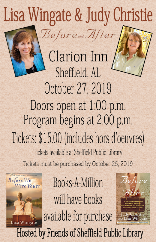 Graphic poster for Before and After author talk & book signing